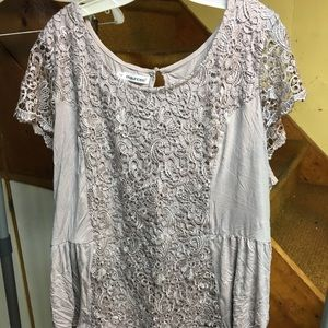Maurice's grey lace and cotton peplum top